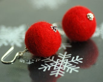 Red Felted Wool Earrings, Christmas Earrings, Red Jewelry, Funky Earrings, Felted Bead Earrings, Sterling Silver - Sleigh Ride