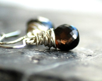 Chocolate Brown Smoky Quartz Gemstone Earrings, Wire Wrapped Sterling Silver - Cocoa