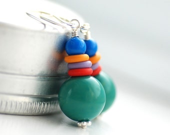 Teal Green Earrings, Lucite Earrings, Funky Earrings, Whimsical Jewelry, Colorful Earrings, Fun Jewelry - Fiesta