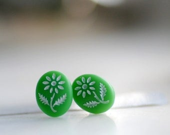 Stud Post Earrings, Green Studs, Tiny Green with White Daisies on Vintage Glass Cabochons and Steel Posts