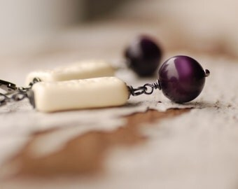 Purple Earrings, Purple and Ivory, Lucite Jewelry, Statement Earrings, Leverback Earrings, Drop Earrings, Rustic Earrings - Urban Garden