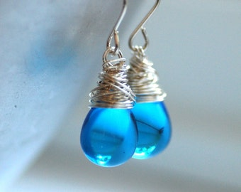 Aqua Blue Earrings, Glass Earrings, Blue Wedding, Summer Jewelry, Dangle Earrings, Sky Blue, Wire Wrapped Sterling Silver