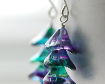 Peacock Green and Purple Glass Earrings, Nature Earrings, Garden Wedding, Flower Earrings, Teal and Plum, Sterling Silver - Lupin