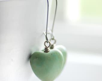 Mint Green Heart Earrings, Pastel Jewelry, Seafoam Green, Dangle Earrings, Cottage Wedding, Valentine, Stone Hearts and Gunmetal - Softly