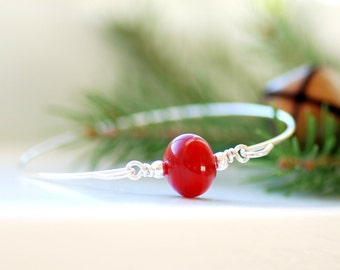 Silver Bangle, Christmas Bracelet, Red Glass Bangle, Stacking Bangle, Modern Minimalist Jewelry, Red Hollow Glass - Home for the Holidays