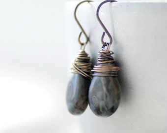 Black and Gray Earrings, Glass Earrings, Charcoal Grey Earrings, Oxidized Sterling Silver, Dangle Earrings, Rustic Earrings