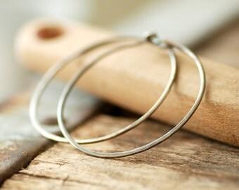 Hoop Earrings, Hammered Hoops, Boho Hoops, Hammered Silver Hoops, Rustic Jewelry, Made in Canada, Oxidized Sterling Silver
