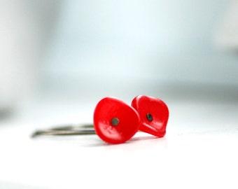 Dark Coral Earrings, Flower Earrings, Nature Jewelry, Garden Wedding, Simple Bridesmaid Earrings, Botanical - Posies