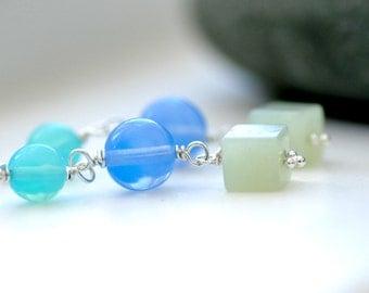 Dangle Earrings, Blue Glass Earrings, Aqua, Sky Blue and Seafoam Green, Summer Jewelry, Long Drop Earrings - Waterfall