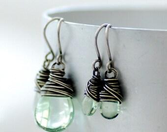 Mother Daughter Jewelry, Sage Green Glass Earrings, Flower Girl Earrings, Mint Green, Mothers Day, Wedding Jewelry