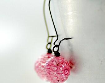 Pink Earrings, Honeysuckle Pink, Lucite Earrings, Simple Earrings, Flower Jewelry, Garden Party - Chantilly Lace