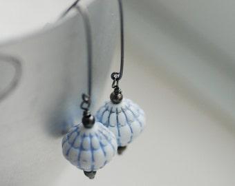 Blue Earrings, Blue and White, Dangle Earrings, Summer Earrings, Vintage Glass Earrings, Oxidized Sterling Silver - Blue Patio Lantern