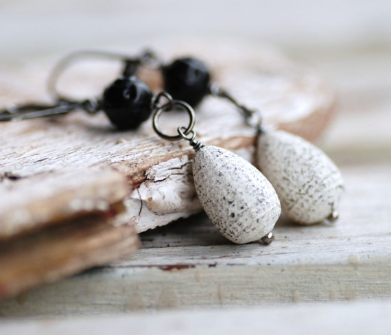 Rustic Earrings, Dangle Earrings, Distressed Black and White Vintage Acrylic, Sterling Silver and Gunmetal -  And the Stars through her Sou