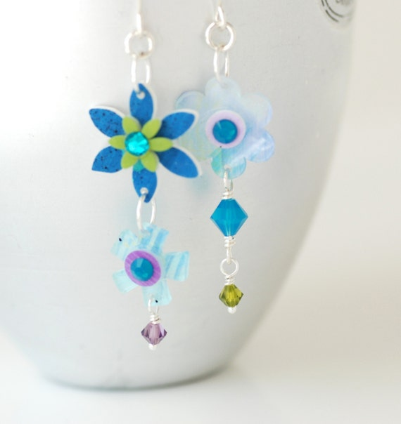 Flower Earrings, Funky Earrings, Plexiglass Earrings, Summer Earrings, Blue and Green, Fun Earrings, Sterling Silver - Flower Child