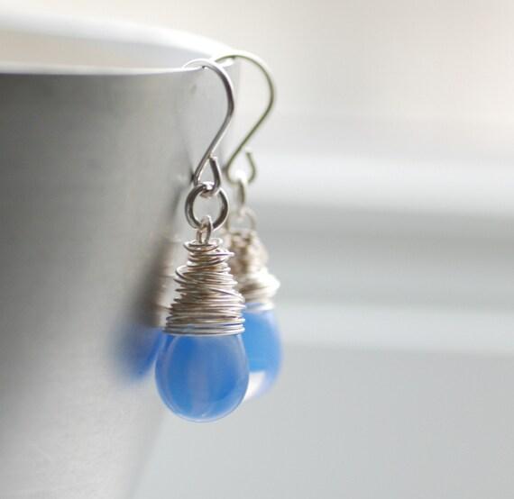 Blue Earrings, Cornflower Blue Glass Earrings, Periwinkle Blue, Blue Wedding, Wrapped Sterling Silver