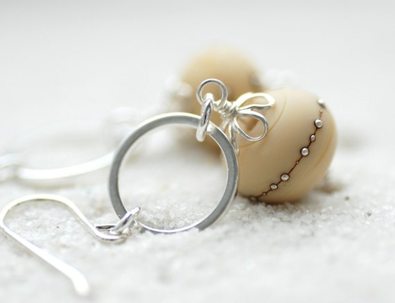 Dark Ivory Earrings, Ecru Earrings, Etched Glass Earrings, Beach Wedding, Ivory Wedding, Romantic Earrings, Beachy Jewelry - Dunes