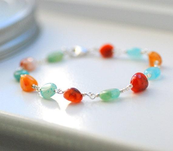 Blue and Orange Bracelet, Semi Precious Stone Bracelet, Aqua Blue Hemimorphite, Burnt Orange, Coral Agate, Autumn Bracelet, Sterling Silver
