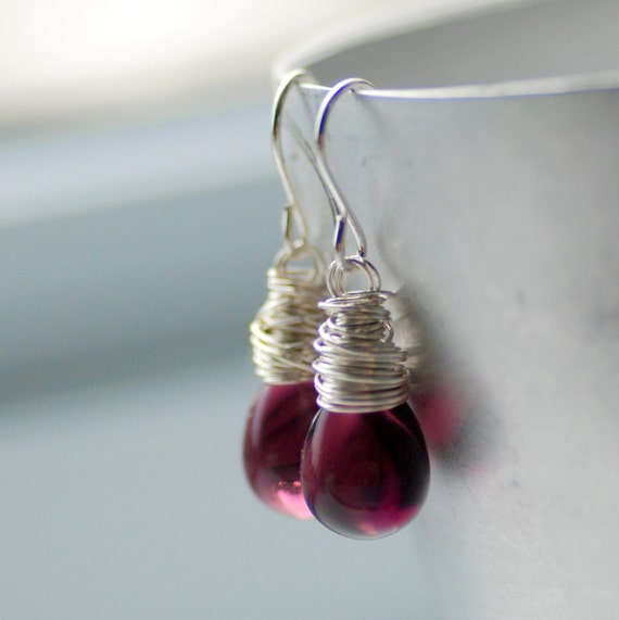 Purple Earrings, Glass Earrings, Simple Wedding, Purple Wedding, Plum, Drop Earrings, Bridesmaid Jewelry - Orchid