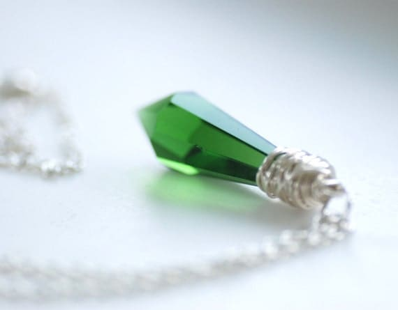 Green Glass Necklace, Faceted Prism Dagger Pendant, Wire Wrapped Sterling Silver - Castle