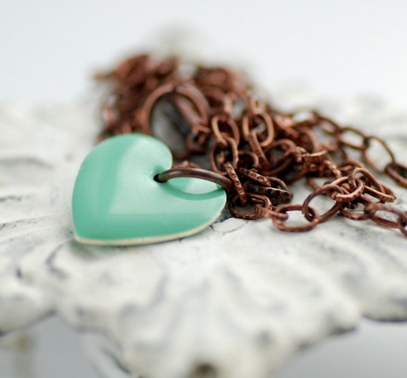 Metal Heart Necklace, Seafoam Heart Pendant, MInt Green Jewelry, Bridesmaid Necklace, Copper Necklace