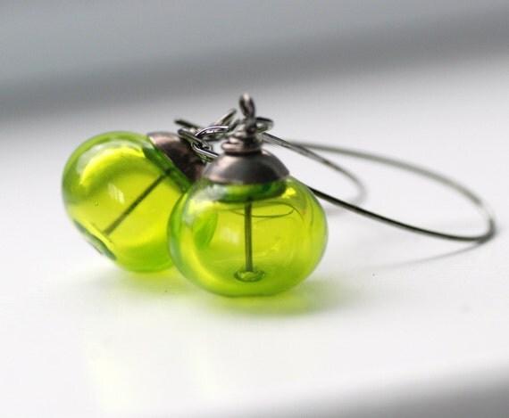 Green Earrings, Lime Green Earrings, Neon Jewelry, Neon Wedding, Bridesmaid Earrings, Statement Earrings, Jewel tone Wedding - Limelight