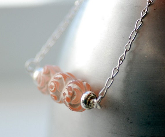 Silver Necklace, Peaches and Cream, Romantic Necklace, Pastel Jewelry, Vintage Etched Acrylic and Sterling Silver