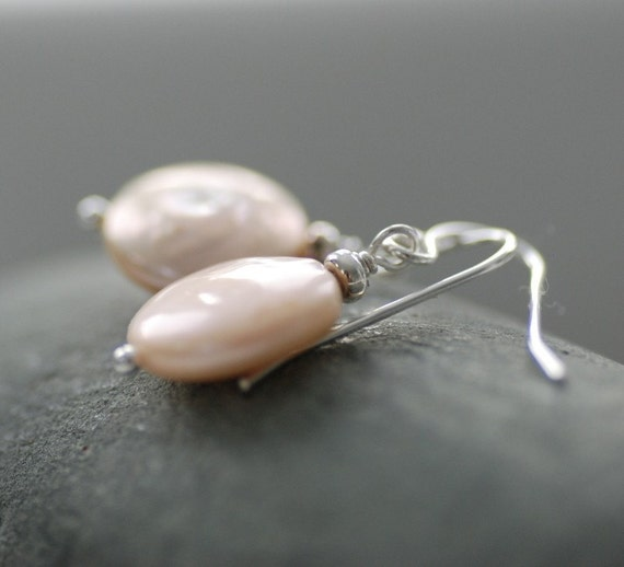 Pearl Earrings, Blush Pink Coin Pearl and Sterling Silver, June Birthstone - Windswept