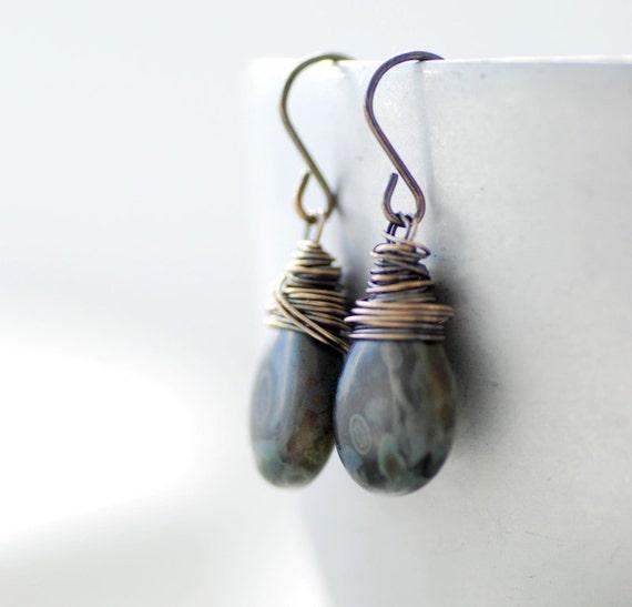 Black and Gray Earrings, Glass Earrings, Charcoal Grey Earrings, Oxidized Sterling Silver, Dangle Earrings, Rustic Earrings