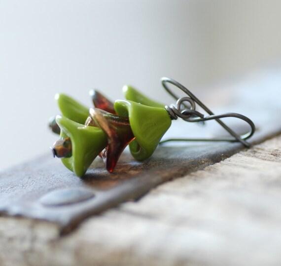 Earthy Earrings, Green and Brown Earrings, Glass Dangle Earrings, Oxidized Sterling Silver, Woodland Jewelry, Olive Green, Flower Earrings