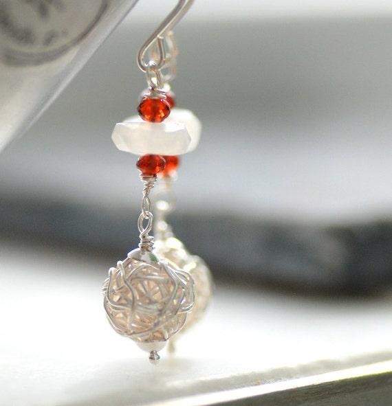 Moonstone Earrings, Sterling Silver Wire Earrings, Garnet Earrings, Gemstone Jewelry, January Birthstone Jewelry, Dangle Earrings - Eclipse