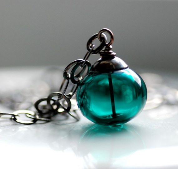 Dark Teal Necklace, Teal Pendant, Teal Jewelry, Peacock Wedding, Glass Pendant, Beach Wedding Jewelry, Oxidized Sterling Silver - Deep Sea