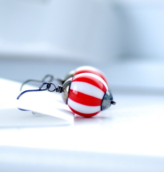 Funky Earrings, Red White Striped Earrings, Fun Jewelry, Whimsical Earrings, Oxidized Sterling Silver - Circus