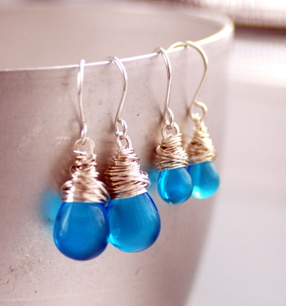 Mother Daughter Jewelry, Aqua Blue Glass Earrings, Flower Girl Earrings, Polished Sky Blue Glass and Wrapped Sterling Silver