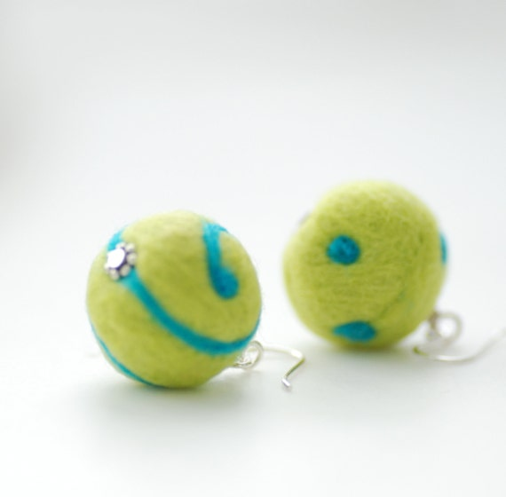 Lime and Turquoise Felted Wool Earrings, Dots and Swirls Funky Geometric Merino Wool on Sterling Silver - Funky Dots
