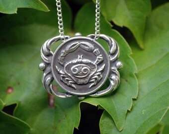 Cancer Medallion Necklace - Astrological Zodiac Sign Pendant - Sterling Silver or Brass