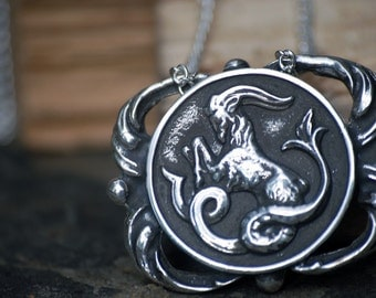 Capricorn Medallion Necklace - Astrological Zodiac Sign Pendant - Sterling Silver or Brass