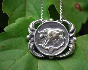 Taurus Medallion Necklace - Astrological Zodiac Sign Pendant - Sterling Silver or Brass
