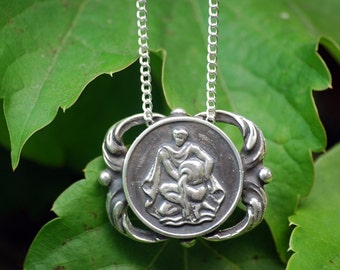 Aquarius Medallion Necklace - Astrological Zodiac Sign Pendant - Sterling Silver or Brass