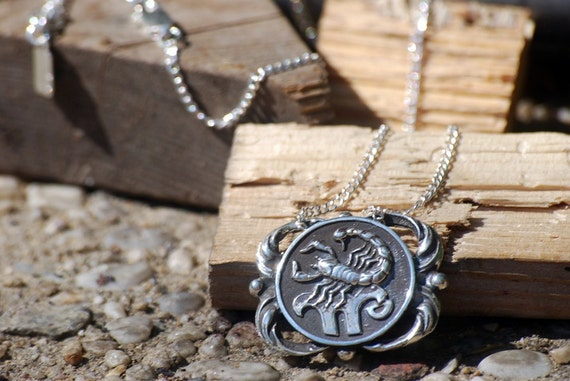 Scorpio Medallion Necklace - Astrological Zodiac Sign Pendant - Sterling Silver or Brass
