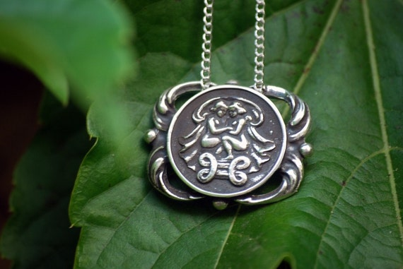 Gemini Medallion Necklace - Astrological Zodiac Sign Pendant - Sterling Silver or Brass