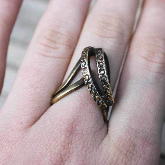 Geometric V Diamond Ring - Art Deco Style - Brass