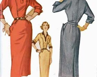 Vintage McCalls 9529 Sewing Pattern ROCKABILLY Wiggle Dress 1950s Sewing Pattern Size 16 Bust 34 UNCUT
