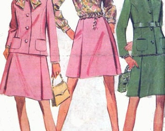 1960s MAD MEN Suit and Blouse McCalls 9601 Womens Vintage 60s Sewing Pattern Size 14 Bust 36