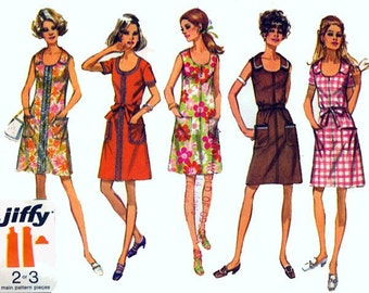 """Vintage 1970s Front Zip Shift Dress w/ Petal Collar Option Sewing Pattern Simplicity 8872 70s Simple to Sew Sewing Pattern Size 10 B 32 1/2"""""""