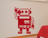 """Kids Wall Decals Robby the Robot 37"""" tall by 27"""" wide Vinyl Wall Art, Removable Boys Room Decor"""