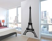 Eiffel Tower Wall Decal 7 Feet Tall, Vinyl Wall Art Decal stickers highly detailed Paris Decor for your home