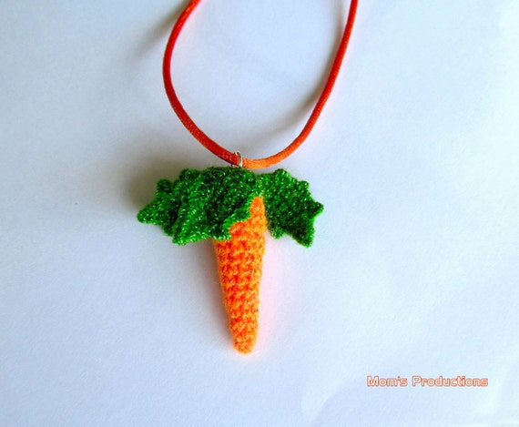 Crocheted Mini Carrot Pendant