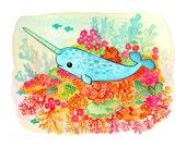 Narwhal Coral Reef Ocean 8x10 Print