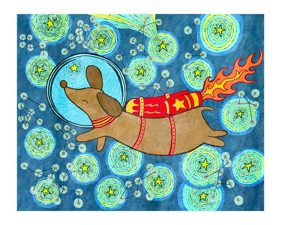 Dachshund in Space 8x10 Print