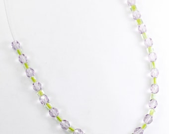 Lilac and Lime Green Glass Necklace